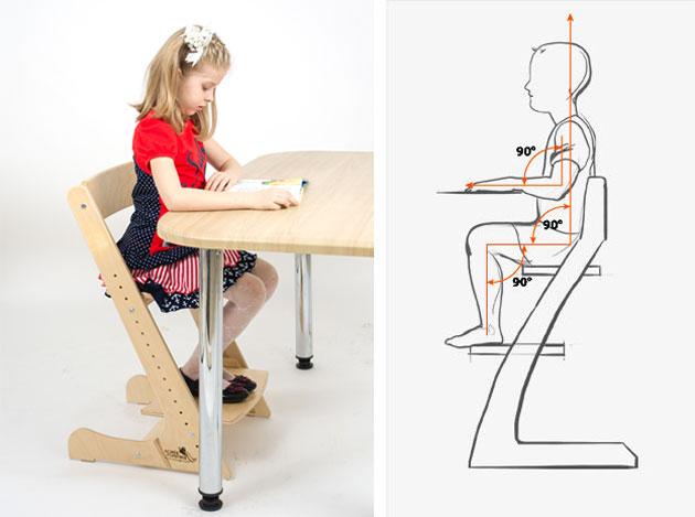 Положение тела ребенка на стуле Конек-Горбунок